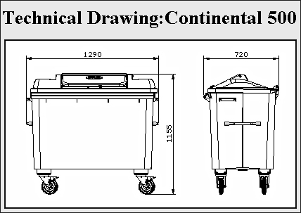 Continental 500 Recycling Bin Dje Recycling Systems